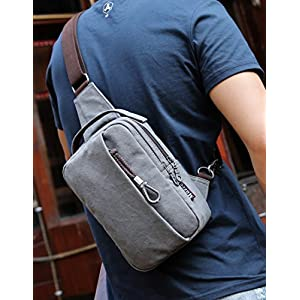 Muzee Sling Bag Chest Shoulder Gym Backpack Sack Satchel Outdoor Crossbody Bag (New grey)