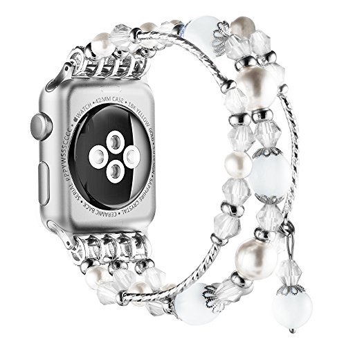 Simpeak Replacement iWatch Band Women Girl Fashion Beaded Elastic Bracelet Band Strap for 42mm 44mm Apple Watch Series 4 2018, Series 3, Series 2, Series 1, White