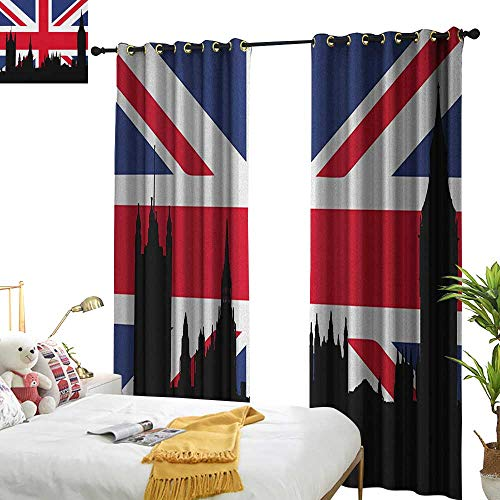 WinfreyDecor Insulated Sunshade Curtain Union Jack Houses of The Parliament Silhouette on UK Flag Historic Urban Skyline Darkening and Thermal Insulating W120 x L84 Royal Blue Black Red ()