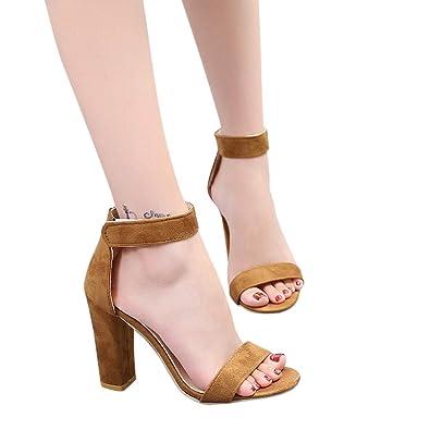 a067803cb0f9ee DressLksnf Chaussures Escarpins Cheville Femme Bout Ouvert Sandales Couleur  Unie Talons Hauts Mode Confortable
