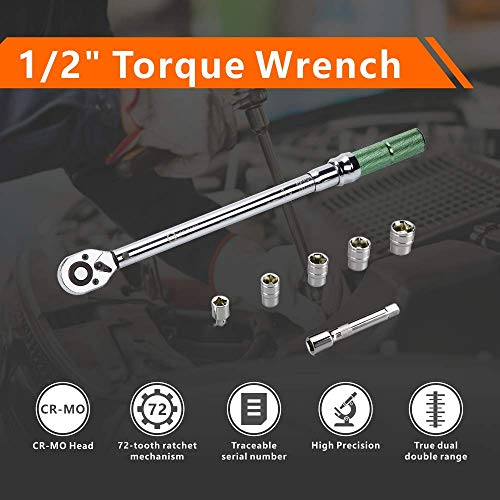 AKM 1/2-inch Drive Dual-Direction Click Torque Wrench Set High Precision Wrench with Buckle (20-160ft.-lb / 20-210Nm)