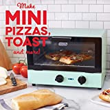 Dash Compact Toaster Oven Cooker for Bread, Bagels, Cookies, Pizza, Paninis & More with Baking Tray, Rack + Auto Shut Off Feature - Aqua