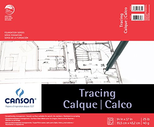 Canson Foundation Tracing Paper Pad for Ink, Pencil and Markers, Fold Over, 25 Pound, 14 x 17 Inch, 50 Sheets by Canson