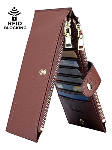 Travelambo Womens Walllet RFID Blocking Bifold Multi Card Case Wallet with Zipper Pocket (synethic leather brown)