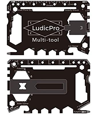 LudicPro Multi-Tool 46 in 1 Multi-Purpose Credit Card Size Wallet Tool with Money Clip by Grace Metal Limited
