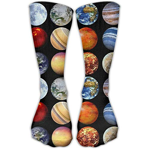 Personalized Cool Athletic High Socks Stockings Solar System Planets Space Science Astronomy 3D Printing Compression Novelty Sports Crew Tube Knee Sock Stocking