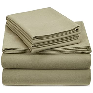 Pinzon Heavyweight Flannel Sheet Set - King, Thyme Green