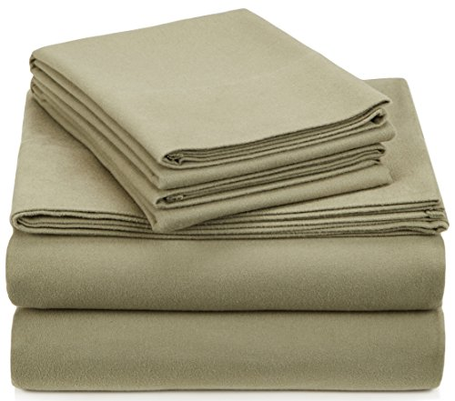 - Pinzon Signature Cotton Heavyweight Velvet Flannel Sheet Set - California King, Thyme Green