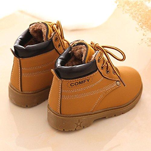 Hunpta Babyschuhe Mädchen Jungen Lauflernschuhe Winter Kind Armee Stil Martin Stiefel warme Babyschuhe (23, Schwarz) Gelb