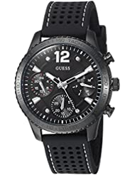 GUESS Womens Stainless Steel Multifunction Silicone Casual Watch, Color: Black (Model: U1025L3)