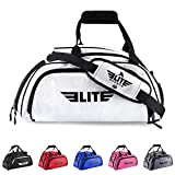 Elite Sports NEW ITEM Warrior Series Boxing MMA BJJ Gear Gym Duffel Backpack Bag (White, Large)