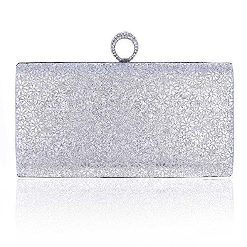 Rectangular Silver Scatter Metal Damara Evening Womens Shiny Bag Flower 58ngwa