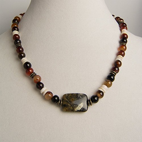 Black/Gray Jasper Pendant with Amber Marbled Carnelian, Pukka Shell Chips, and Brass Edged Black Spacer Disks Necklace and Earring (Amber Earrings Mix)