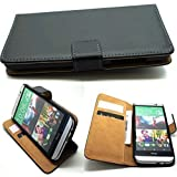 Luxury premium leather wallet mobile stand case cover for HTC ONE M7 - BLACK