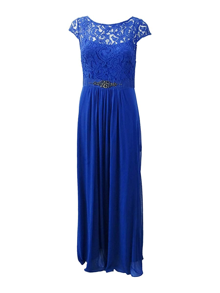 bluee Adrianna Papell Womens Lace Overlay Embellished Evening Dress