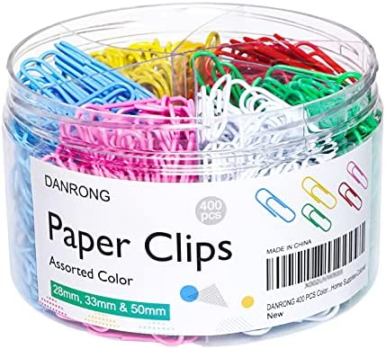 DANRONG 400 PCS Colored Paper Clips Assorted...