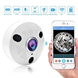 5MP Wireless IP Cameras Panoramic Fisheye Security Camera H.265 with Infrared and Night Vision for Indoor Use