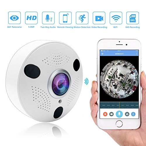 5MP Wireless IP Cameras Panoramic Fisheye Security Camera H.265 with Infrared and Night Vision for Indoor Use by Elzoneta