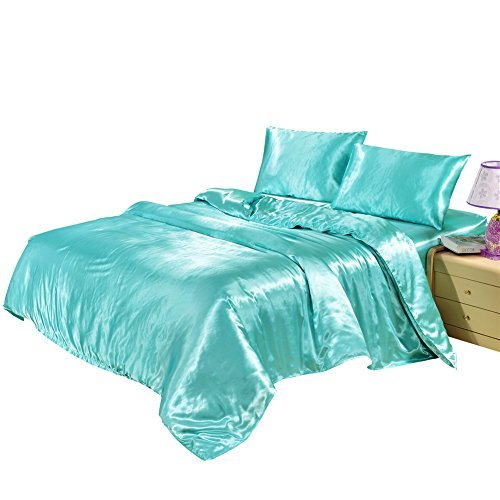 - Hotel Quality Solid Aqua Blue Duvet Cover Set Queen/Full Size Silk Like Satin Bedding with Hidden Zipper Ties Soft Hypoallergenic Stain Resistant Quilt/Comforter Cover Set