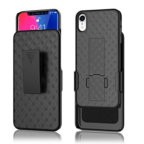 iPhone XR Case,Combo Shell & Holster Case Super Slim Shell Case w/Built-in Kickstand + Swivel Belt Clip Holster for iPhone XR 6.1 inch(2018 Release)