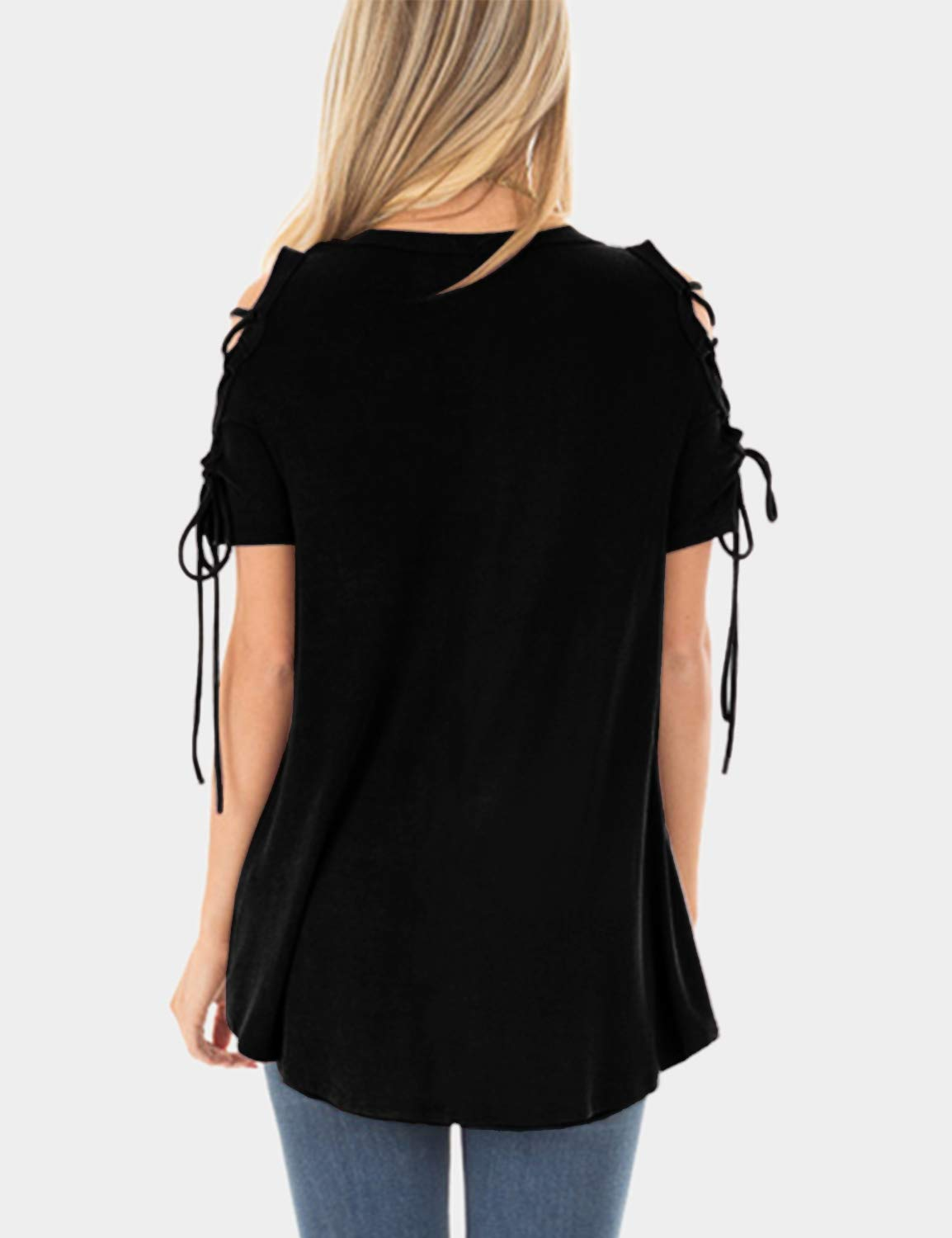Blooming Jelly Womens Summer Cold Shoulder Tops Cut Out Square Collar Casual Tunic T Shirt for Ladies Black,S