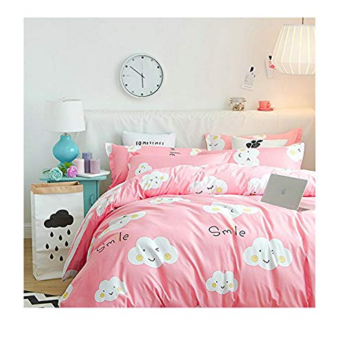 (KFZ Bed Set Bedding Duvet Cover Set Flat Sheet Pillowcases No Comforter LZ Twin Sheets Set Daisy Love Smiling Cloud Colourful Design for Adult Children (Smiling Cloud,Pink, Twin, 59