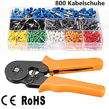 tooltack 800 Cable Guantes Crimpadora Set, 20115 Crimper Alicate con 800, Terminales Crimping Tool