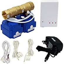 E-SDS Automatic Water Leak Shut off Valve System,Water Leak Detector with 2 Valves,2 Sensors and Sounds Alarm,For Pipes 3/4 NPT,Flood Prevention for Laundry Washing Machines,Water Heaters and More