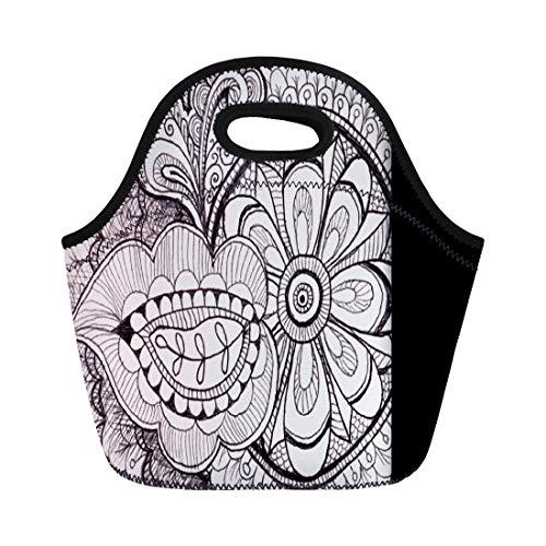 Ablitt Lunch Bags Black Chic Exotic Ethnic Tribal Ikat Batik Pattern White neoprene lunch bag lunchbox tote bag portable picnic bag cooler bag