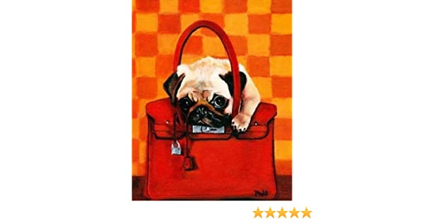 63a8eabc3453 Amazon.com  Fawn Pug Dog in Hermes Inspired Birkin Bag 11x14 Fine Art Print   Oil Paintings  Posters   Prints