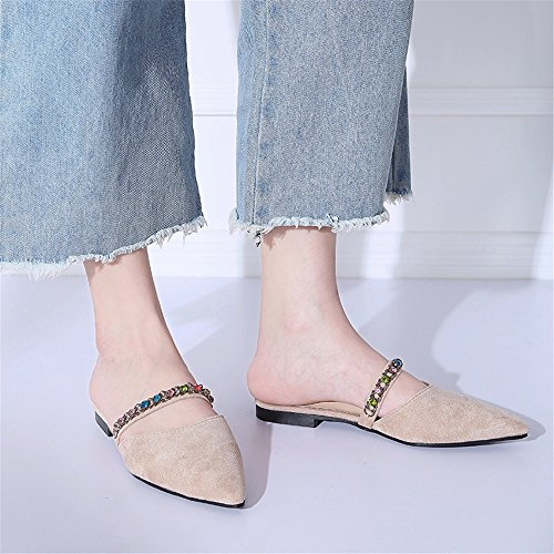 Mules Back Shoes Size Square Toe Sandals Strap Plus Woman MOREMOO Beige Mules Slippers STnwz61qtx