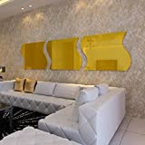 Alrens(TM)30x30cm Gold 3Pcs Wave Squares Luxury Acrylic Decor Art 3D Crystal Mirror Surface Wall Sticker DIY Home Decoration TV Background Living Room Bathroom Mural Decal adesivo de parede Removable