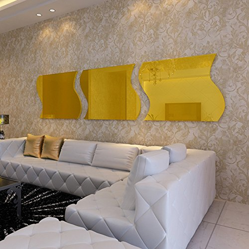 Alrens(TM)30x30cm Gold 3Pcs Wave Squares Luxury Acrylic Decor Art 3D Crystal Mirror Surface Wall Sticker DIY Home Decoration TV Background Living Room Bathroom Mural Decal adesivo de parede Removable by Alrens (Image #2)