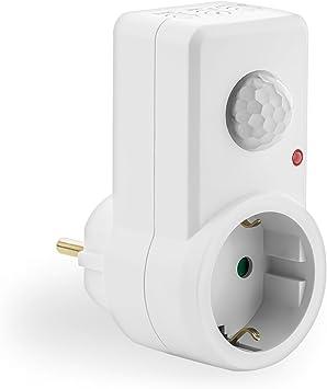 deleyCON 1x Infrarrojos Detector de Movimiento para Tomas de Interior Control de Luz 120/° /Área de Trabajo Alcance de 9m Sensibilidad Ajustable Blanco