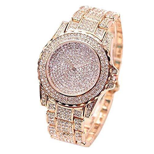 ARMRA Luxury Women Watch Bling Bling Fashion Jewelry Crystal Diamond Rhinestone Ladies Watches Steel Band Round Dial Analog Clock Classic Quartz Female Charm Bracelet Dress Wristwatches (Rose Gold) from ARMRA