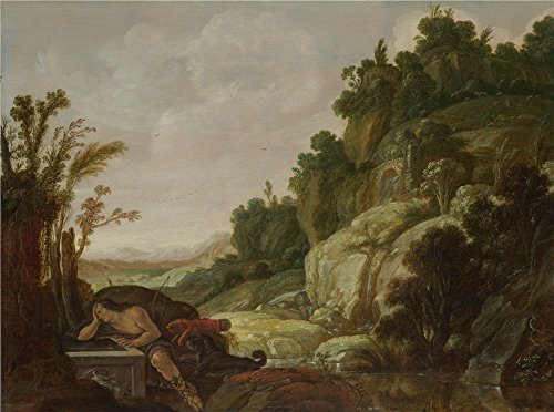 Oil Painting 'Jacob Pynas Mountain Landscape With Narcissus ' Printing On High Quality Polyster Canvas , 30 X 40 Inch / 76 X 102 Cm ,the Best Gift For Relatives And Home Decor And Gifts Is This Amazing Art Decorative Canvas Prints