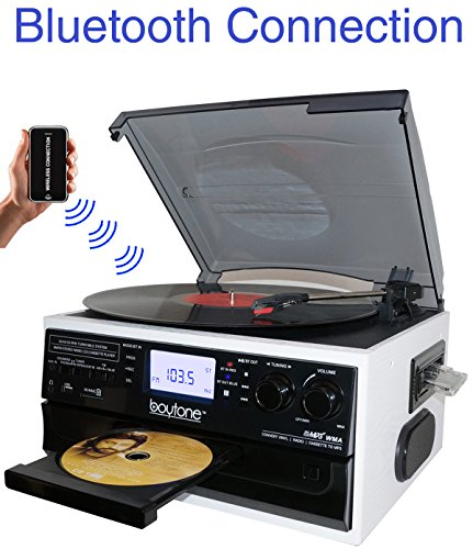 Boytone BT-22WT, Bluetooth Record Player Turntable, AM/FM Radio, Cassette, CD Player, 2 built in speaker, Ability to convert Vinyl, Radio, Cassette, CD to MP3 without a computer, SD Slot, USB, AUX