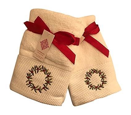 Corona de Navidad bordado toalla de baño (Bundle – Set de 2 toallas de mano