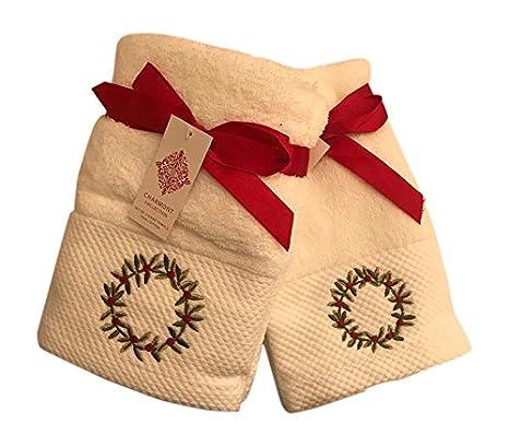 Corona de Navidad bordado toalla de baño (Bundle - Set de 2 toallas de mano y 2 toallas de punta: Amazon.es: Hogar