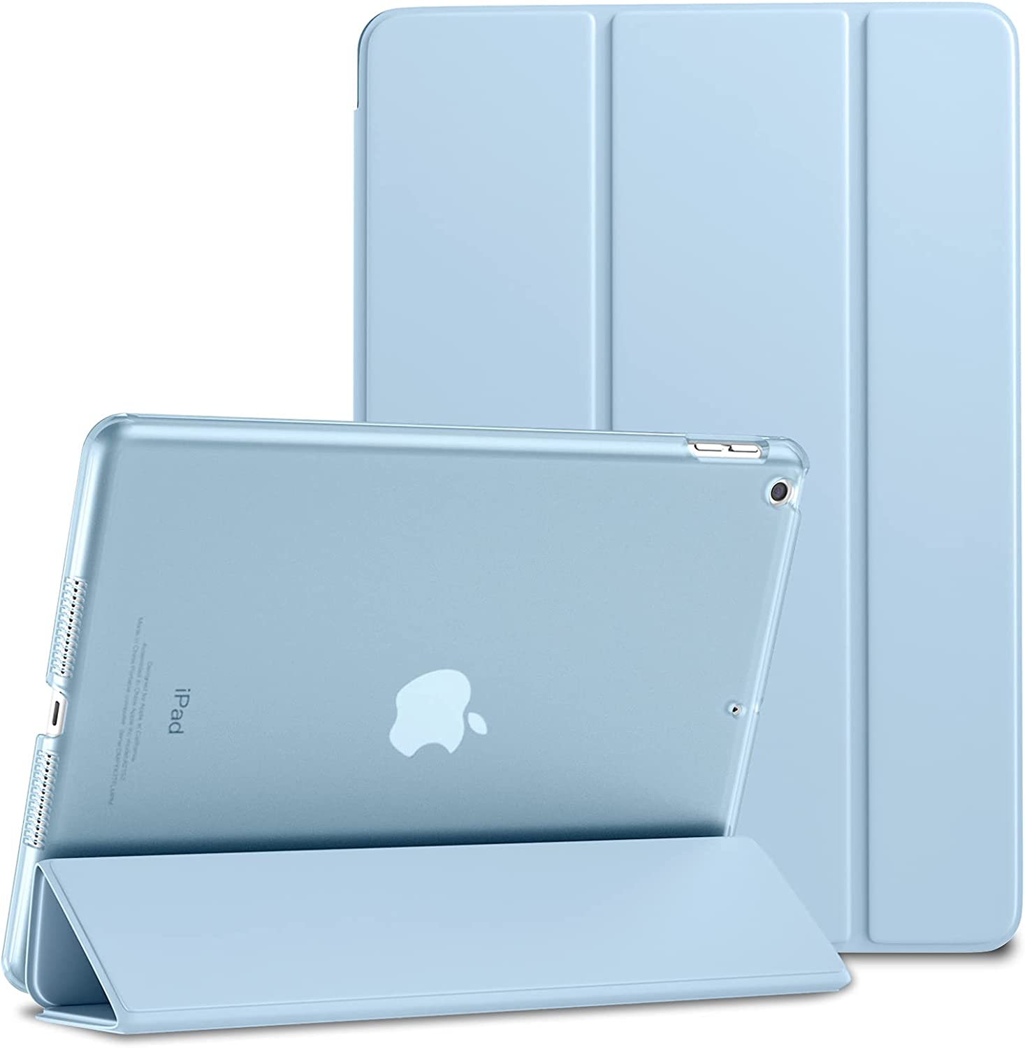 Mastten Case for iPad 8th/7th Generation Case 10.2 inch 2020/2019, Trifold Stand Hard PC Translucent Frosted Back Cover for iPad 10.2 inch Case, Auto Wake/Sleep, Sky Blue