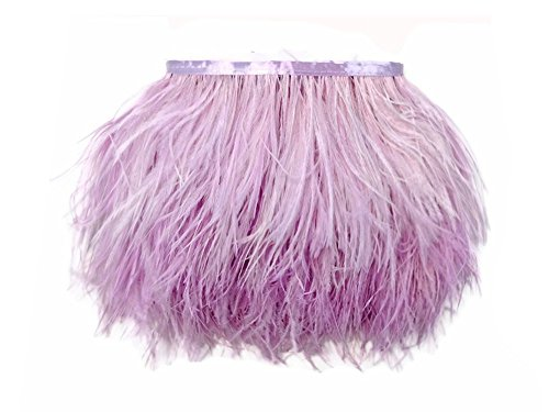 KOLIGHT Pack of 5 Yards Natural Dyed Ostrich Feathers Trim Fringe 4~5inch for DIY Dress Sewing Crafts Costumes Decoration (Lavender)