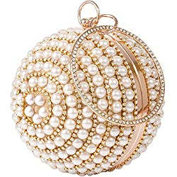 Gold-D Round Ball Clutch With Rhinestone Tassles & Ring Handle