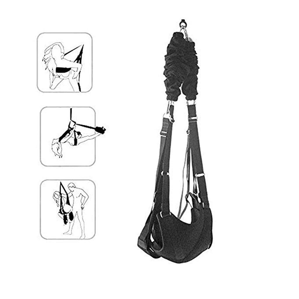 DOAAOD 360 Degree Rotating Couple Romantic Ceiling Hanging Support 600 Pound Swing Set Yoga Swing Toy Black TOY