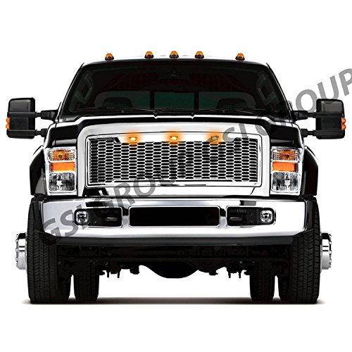 GSI Grille fit for 2008-2010 Ford Super Duty F250+F350+F450+F550+F660 Raptor Style All Chrome Mesh Grille W/3x Amber LED Replacement Shell Packaged Grille (Chrome)