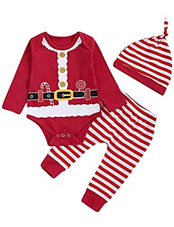 Aslaylme Baby Boy Christmas Outfit Set Newborn Xmas Santa Claus Costume Bodysuit with Hat (Red,0-3 Months)
