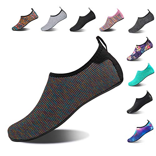 HMIYA Aqua Socks Beach Water Shoes Barefoot Yoga Socks Quick-Dry Surf Swim Shoes for Women Men (Color Black, 38/39EU)