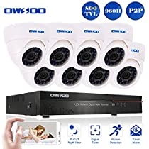 OWSOO 8CH Full 960H/D1 CCTV Surveillance DVR Security System HDMI P2P Cloud Network Digital Video Recorder with 8x 800TVL Indoor Infrared Dome Camera, Support IR-CUT Night Vision Plug and Play - White