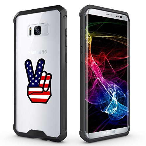 For Samsung Galaxy Clear Shockproof Bumper Case Hard Cover Peace Sign American Flag (Black For Samsung Galaxy S8)