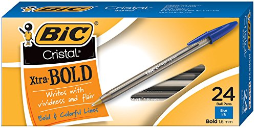 - BIC Cristal Xtra Bold Ballpoint Pen, Bold Point (1.6mm), Blue, 24-Count