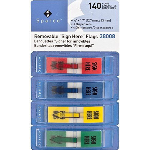 Sparco 38008 Sign Here Pop-Up Flags Dispenser,1/2'' x1-3/4,140/PK,AST by Sparco